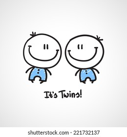 it's twins, vector hand drawn babies with text