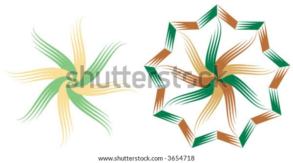 twirled stars in woodcut style