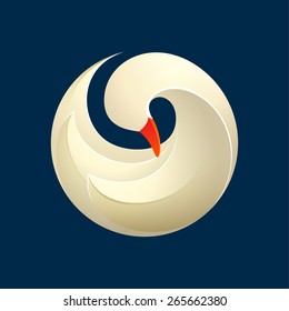 Twist volume goose, swan, bird, logo, symbol, icon, graphic, vector illustration
