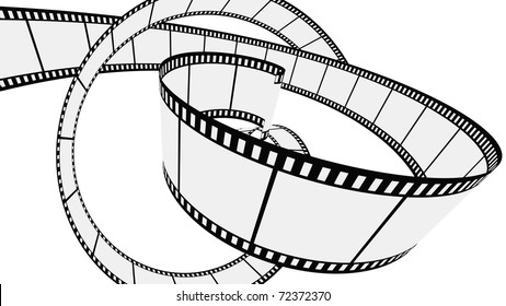 Twisted Blank film strips. Vector illustration on white