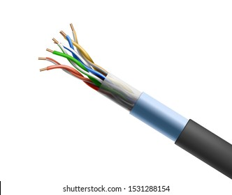 Twisted cable isolated on white background, shielded pair cabling wiring in which conductors of single circuit stranded together for improving electromagnetic compatibility. Realistic 3d vector, icon