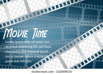 Twisted cinematography film for photo or video recording on blue background vector illustration. Concept for movie theater or online cinema. layout space for photo collage on top and bottom