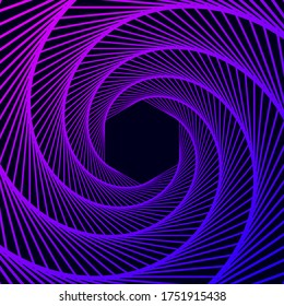 Twisted colored spiral. Wireframe hexagon shape. Vector technology tunnel.