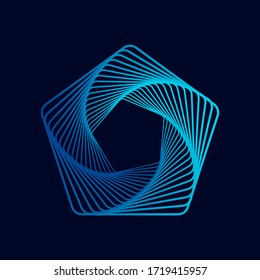 Twisted colored spiral. Wireframe pentagon shape. Vector technology lines graphic element.