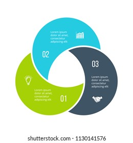 Twisted diagram divided into 3 parts, steps or options. Vector flat infographic design template. Illustration for project steps visualization. Business presentation.