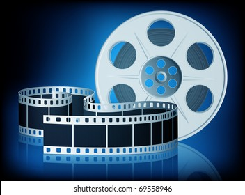 Twisted film for movie on blue background. Vector Illustration. EPS10