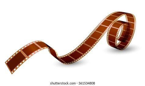 twisted film strip on white background