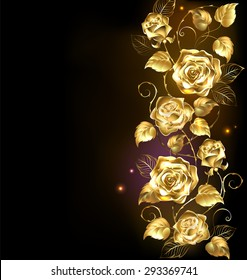 Twisted gold roses on black background.