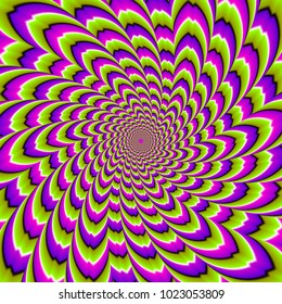 Twisted green, pink and purple flower.  Spin illusion.