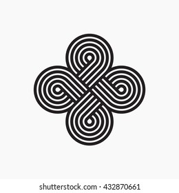 Twisted lines. Intertwined pattern. Line design. Abstract cloverleaf logo. Vector illustration