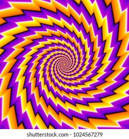 Twisted orange, purple and yellow spirals. Motion illusion.