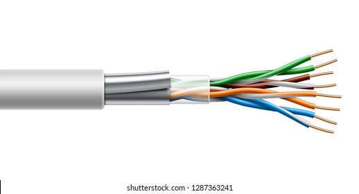 Twisted pair cable with shield structure. Vector realistic illustration isolated on white background.