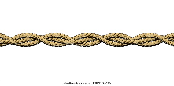 Twisted ropes. Braided ropes on white background. Isolated vector illustration.