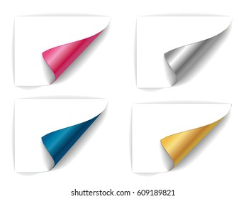 twisted sheets of paper, a set of sheets of different colors.