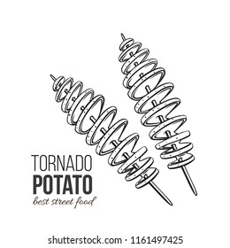 Twisted spiral chips. Vector tornado potato. Illustration fast food for design street cafe or takeaway food. Retro style.