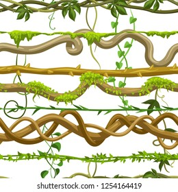 Twisted wild lianas seamless pattern. Jungle vines plants. Woody natural tropical rainforest.