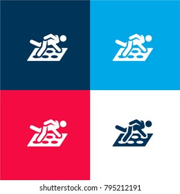 Twister four color material and minimal icon logo set in red and blue