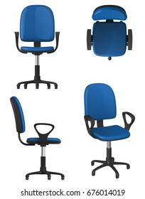 A twisting office chair on wheels, with a blue upholstery seat and backrest, on a white background. Front view, side view, top view and general view