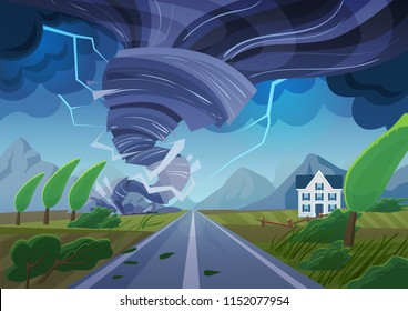 Twisting tornado over road destroying civil building. Hurricane storm in countryside landscape. Natural Disaster waterspout in field vector illustration.