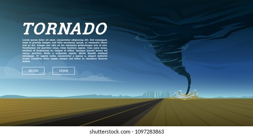 Twisting tornado or storm from sea hurricane in ocean. Realistic tropical natural disaster or cataclysm, catastrophe and crisis Background. Gale Whirlwind Landscape. Weather banner, poster or card.
