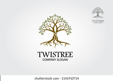 Twistree Vector Logo Template. A stylised tree icon symbol concept illustration.