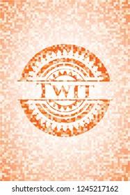 Twit abstract orange mosaic emblem
