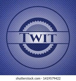Twit badge with denim background. Vector Illustration. Detailed.