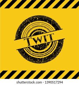 Twit black grunge emblem inside yellow warning sign. Vector Illustration. Detailed.