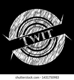Twit chalk emblem written on a blackboard. Vector Illustration. Detailed.