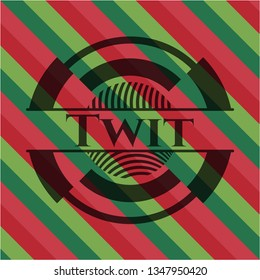 Twit christmas colors style badge.