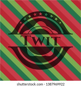 Twit christmas emblem. Vector Illustration. Detailed.