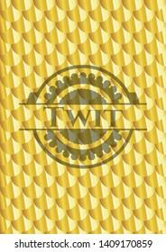 Twit gold emblem. Scales pattern. Vector Illustration. Detailed.