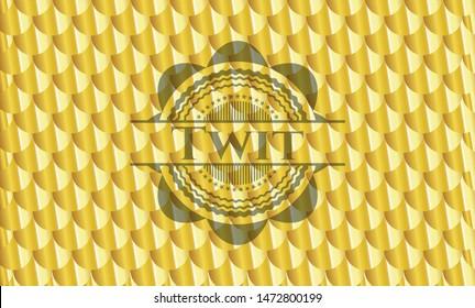 Twit golden emblem. Scales pattern. Vector Illustration. Detailed.