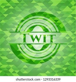Twit green emblem. Mosaic background