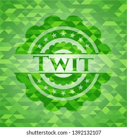 Twit green emblem with triangle mosaic background. Vector Illustration. Detailed.