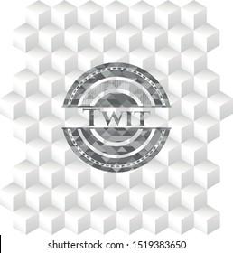 Twit grey emblem with geometric cube white background