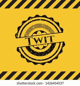 Twit inside warning sign, black grunge emblem. Vector Illustration. Detailed.