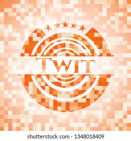 Twit orange tile background illustration. Square geometric mosaic seamless pattern with emblem inside.