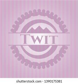 Twit pink emblem. Retro. Vector Illustration. Detailed.