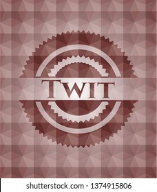 Twit red geometric pattern emblem. Seamless.