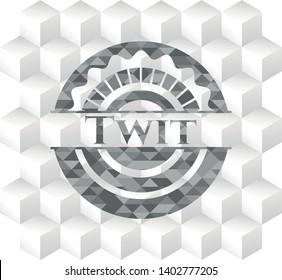 Twit retro style grey emblem with geometric cube white background