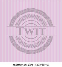 Twit retro style pink emblem. Vector Illustration. Detailed.