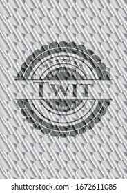 Twit shiny silver emblem. Scales pattern. Vector Illustration. Detailed.