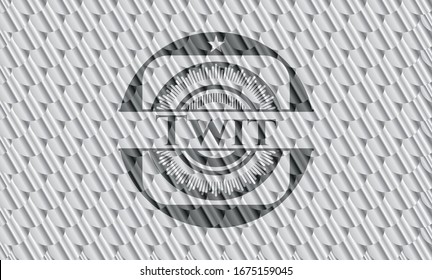 Twit silver color badge. Scales pattern. Vector Illustration. Detailed.