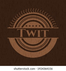 Twit wood emblem. Vector Illustration.
