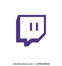 Twitch  icon,twitch.tv logo sign isolated on white background,streaming app illustration for graphics,web design,mobile,desktop apps