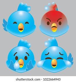 twitter blue bird emoji icon set