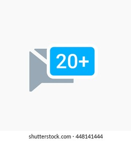 Twitter new Messages Icon Vector, tweet message, twt sign, flat image, illustration, logo, Twit UI element, User interface