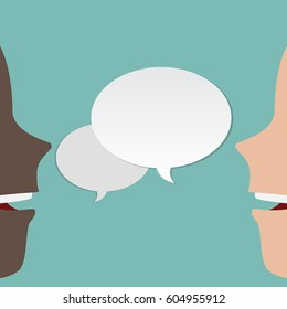 Two, 2 faces talk to each other. Two faces speaks. 2 different peoples speaking. Vector illustration with speech bubble. Black and white humans. Man and man. Vector illustration template