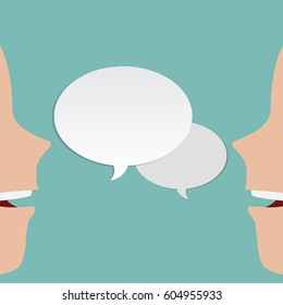 Two, 2 faces talk to each other. Two faces speaks. 2 different peoples speaking. Vector illustration with speech bubble. 2 white people. Vector illustration template